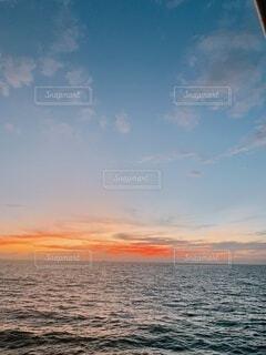 海,空,屋外,湖,ビーチ,雲,夕暮れ,水面,オレンジ,ハワイ,サンセット,グラデーション