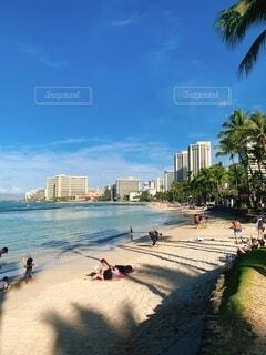 自然,海,空,屋外,ビーチ,雲,水面,日差し,樹木,人物,高層ビル,ハワイ,日中
