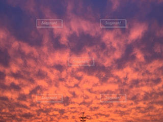 夕日,うろこ雲