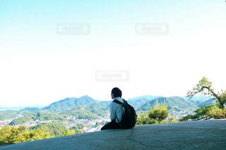 空,街並み,屋外,後ろ姿,山,男,光,人物,背中,人,後姿,広島,思い出,尾道,日中,ふぉと