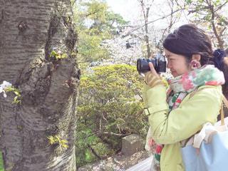 桜の木を撮る人の写真・画像素材[1844060]