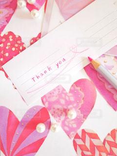 ピンク,手紙,英語,ハート,メッセージ,色鉛筆,好き,恋愛,鉛筆,ありがとう,桃色,手書き,紙,Thank you,手描き,感謝,ラブレター,手書き文字,Thanks