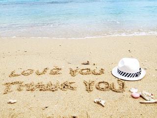 風景,海,夏,LOVE,文字,海外,ビーチ,波,帽子,貝殻,観光,英語,浜辺,旅行,好き,ありがとう,Thank you,手描き,Thanks