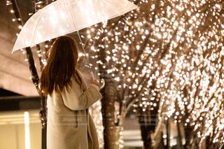 女性,1人,雨,傘,大阪,イルミネーション,グランフロント,アンバサダー
