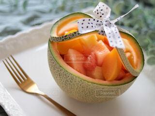 食べ物,緑,フォーク,フルーツ,果物,メロン,グリーン,ドリンク,DOLE,白いお皿,ご褒美スイーツ,フルーツカップ
