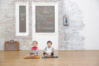 木琴で遊んでいる双子の写真・画像素材[821248]