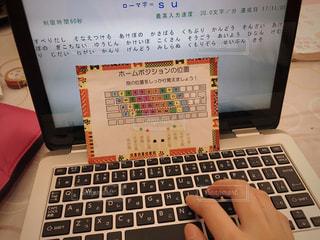 ノート パソコンのキーボードの上に座って人の写真・画像素材[918192]