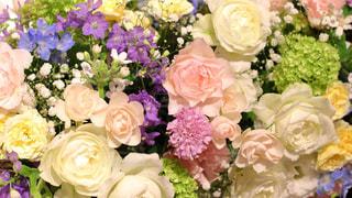 幸せなおふたりを囲む花の写真・画像素材[784874]