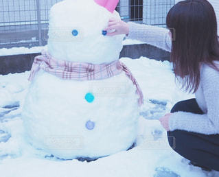 大きな雪だるまの写真・画像素材[1610604]