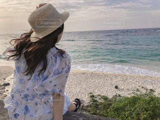 女性,海,後ろ姿,人物,背中,人,後姿,沖永良部島