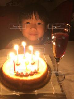 誕生日ケーキにリクエスト手作りチーズケーキの写真・画像素材[3200551]