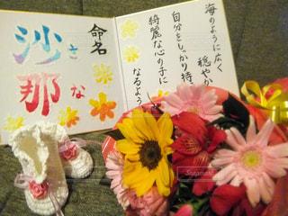 花束と命名書の写真・画像素材[1885814]