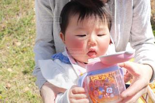 むぎ茶を飲む赤ちゃんの写真・画像素材[2026697]