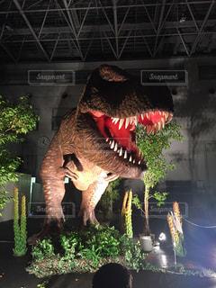 近くに恐竜のアップの写真・画像素材[932314]