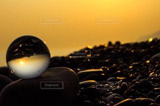 海,空,夕日,ガラス玉,夕焼