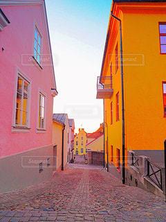 自然,空,建物,夕日,街並み,スウェーデン,海外,ピンク,ヨーロッパ,背景,道,可愛い,桃色,pink,ぴんく,ゴットランド,ゴットランド島,ぴんく色