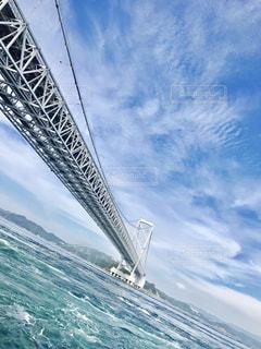 背景の山が付いている水の体の上の橋の写真・画像素材[770921]