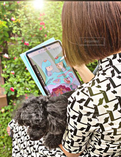 お庭でお絵描き♬の写真・画像素材[3244614]