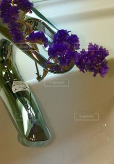 花,水,紫,蛇口,洗面台,飾ってみた