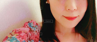 クローズ アップ撮影、selfie ピンクの髪を持つ女性の - No.888945