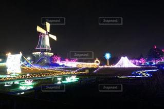 風車のイルミネーションの写真・画像素材[1684311]
