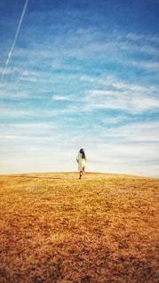 秋空と広い芝生を走る女の子の写真・画像素材[869026]