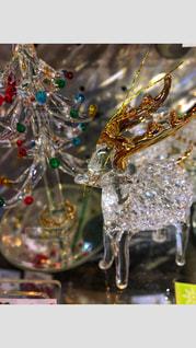 かわいい,キラキラ,クリスマス,ツリー,トナカイ,金色,がらす