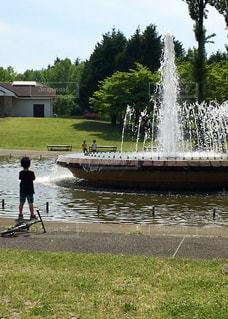 公園,屋外,後ろ姿,水面,噴水,少年