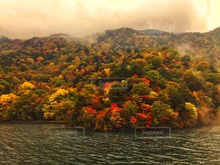 赤色が映える中禅寺湖の写真・画像素材[799982]