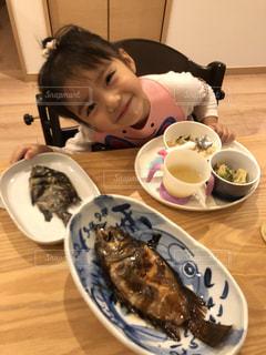 魚,子供,女の子,笑顔,ごはん,釣り