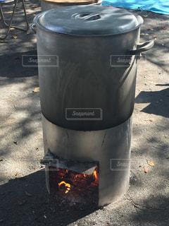 秋,食事,鍋,薪,たき火,野外