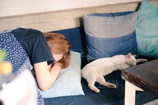 ベッドの上に座っている人の写真・画像素材[916719]