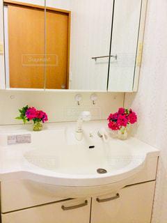 花,ピンク,白,室内,鏡,癒し,シンプル,グリーン,洗面所,洗面台,清潔,花のある暮らし,ペチュニア八重