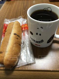コーヒー,朝食,朝ごはん,のんびり,スヌーピー,自宅,チョコパン,手軽