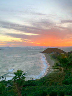 愛知県・伊良湖の夕日の写真・画像素材[3394371]