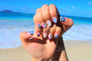 海,夏,ネイル,カラフル,きれい,ハワイ,オアフ島,カイルア,カイルアビーチ,夏ネイル,ラニカイビーチ,インスタ映え