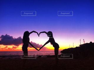 海,空,夕日,海外,ビーチ,きれい,綺麗,ハート,旅行,旅,sea,サンセット,友情,友達,時間を忘れる旅