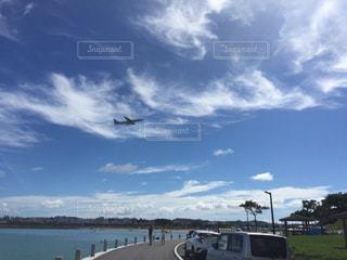 海,空,綺麗,晴れ,飛行機,沖縄,那覇空港,快晴