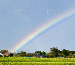 野原の虹の写真・画像素材[2507807]