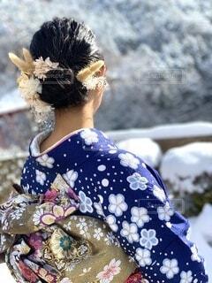 女性,風景,アクセサリー,雪,雪景色,着物,人,イベント,和服,お祝い,女の人,成人式,和装,行事,成人の日,人間の顔