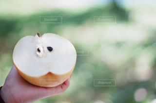 近くに果物を持っている手のアップの写真・画像素材[868943]