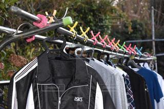 庭,日常,家庭,洗濯,虹色,ジャケット,パーカー,平行,ばさみ