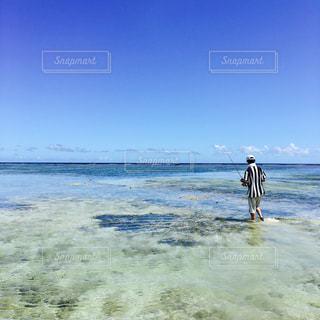 海,沖縄,人物,旅行,釣り,リーフ