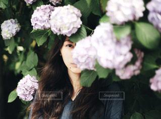 女性,紫陽花,人物,ポートレート,梅雨,ロング