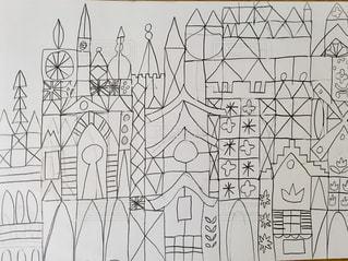アート,お城,お絵描き,鉛筆,イッツアスモールワールド,おえかき,線画,画用紙,模写,おうち時間