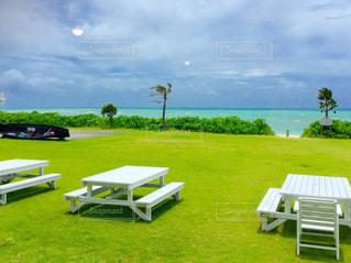 緑豊かな緑のフィールドの上に座っての芝生の椅子のグループの写真・画像素材[811074]