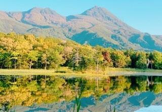 2019年9月 葉の色が変わり始めた知床五湖の遠景の写真・画像素材[3713694]