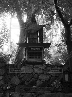 れんが造りの建物の前に木の写真・画像素材[818434]