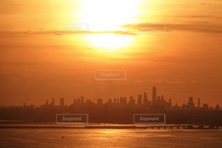 風景,空,太陽,夕暮れ,オレンジ,光,タワー,高層ビル,ニューヨーク 摩天楼