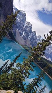 背景の山と木の写真・画像素材[821531]